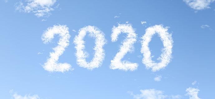 2020と書かれた雲