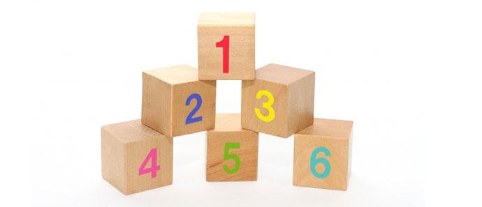 数字がかかれた積み木