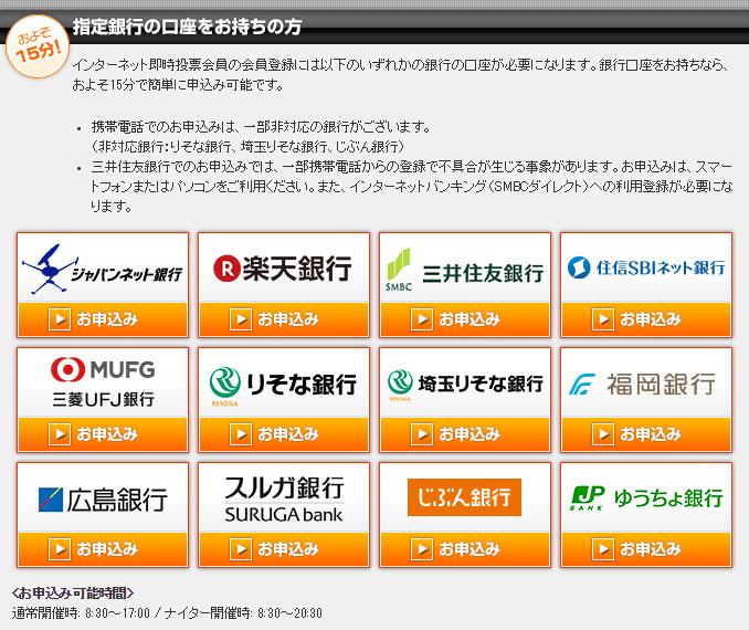 TELEBOATの指定銀行口座一覧